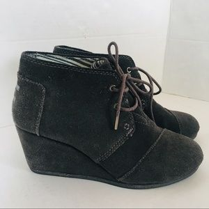 Toms Lace Up Booties Wedges